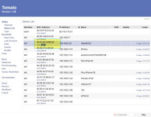 Tomato DHCP Clients - festlegen einer statischen IP Adresse